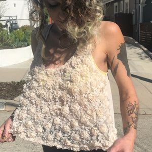 Tops - Off white lace 3-D flower mesh sheer blouse